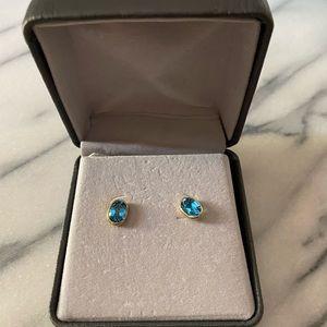 Aquamarine & Gold Stud Earrings